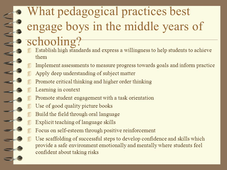 What pedagogical practices best engage boys in the middle years of schooling