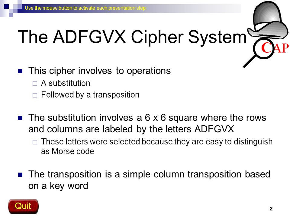 The ADFGVX Cipher System