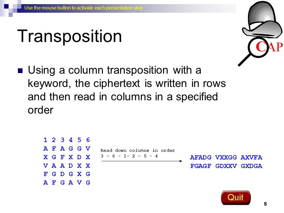 Transposition Using a column transposition with a keyword, the ciphertext is written in rows and then read in columns in a specified order.
