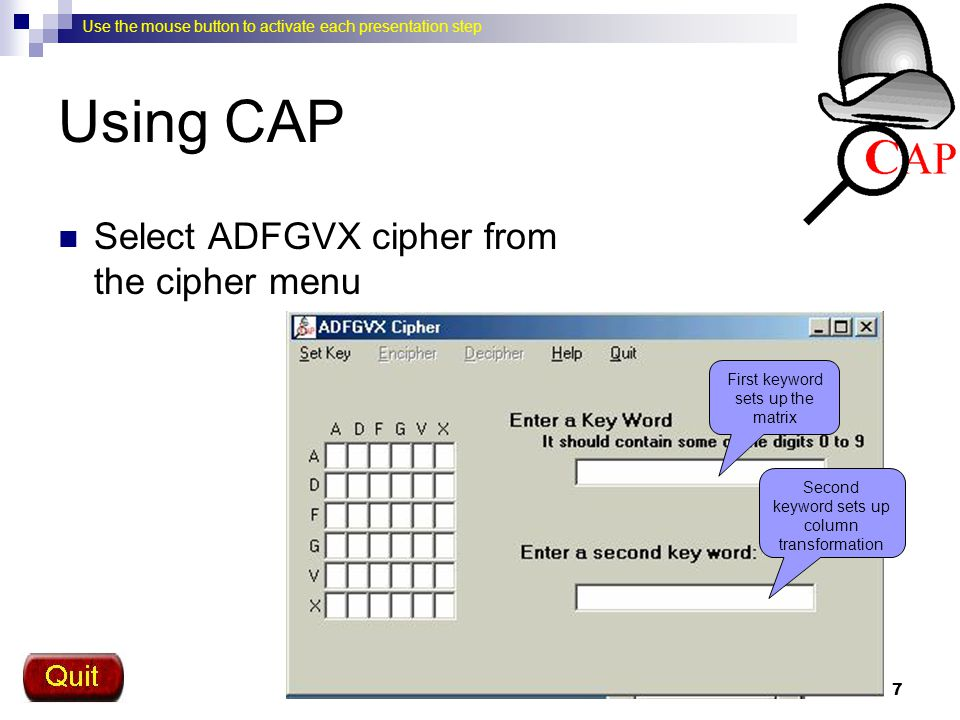 Using CAP Select ADFGVX cipher from the cipher menu