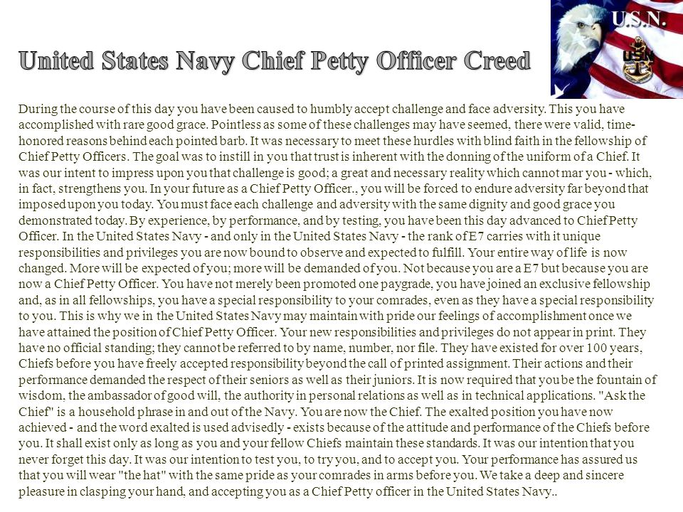 United States Navy Chief Petty Officer Creed