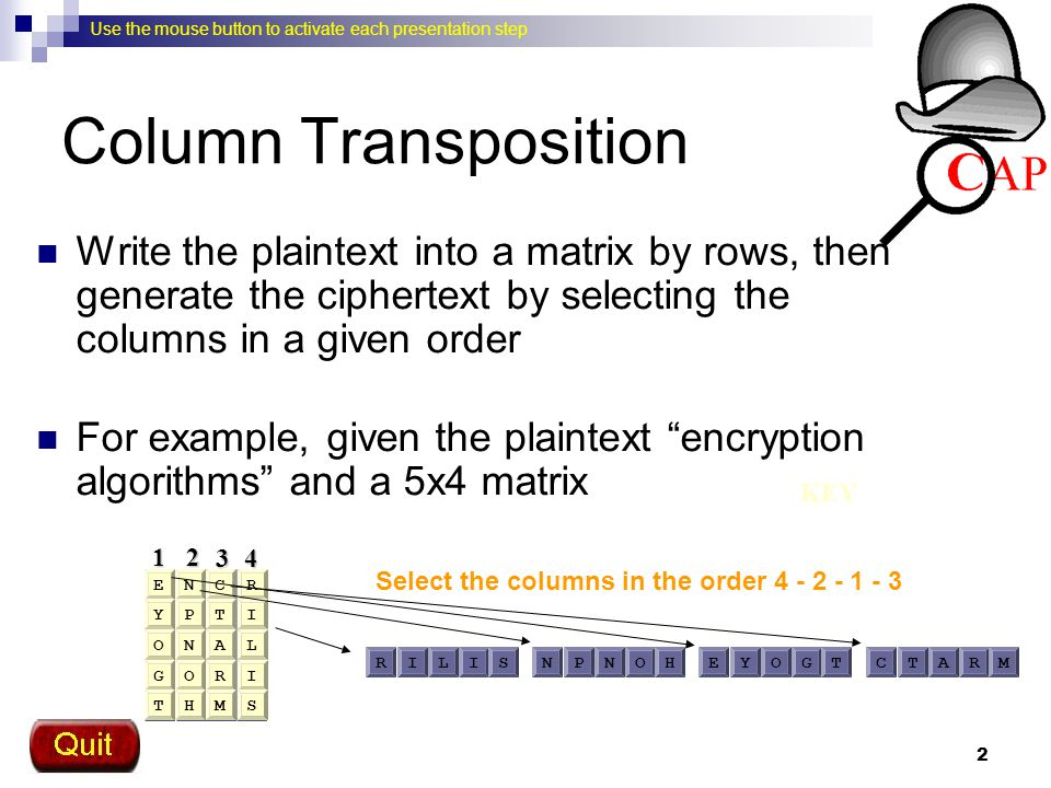 Column Transposition Write the plaintext into a matrix by rows, then generate the ciphertext by selecting the columns in a given order.
