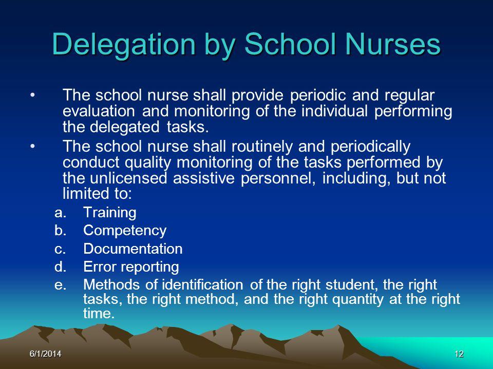 Delegation by School Nurses