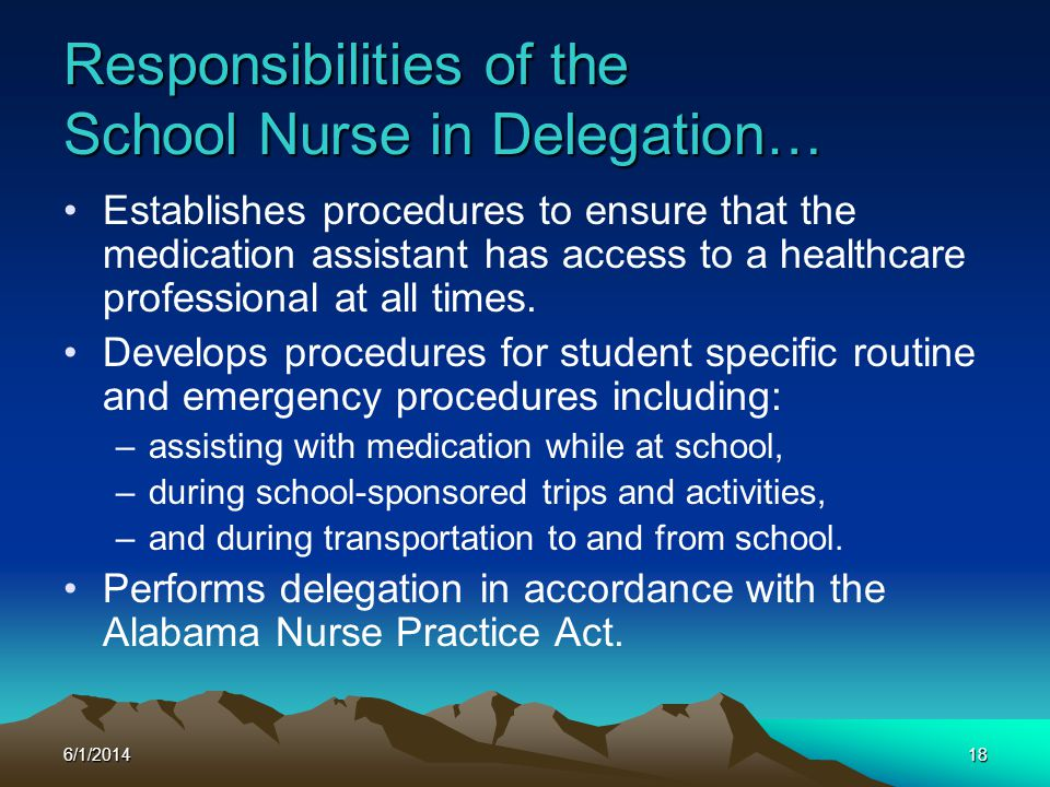 Responsibilities of the School Nurse in Delegation…