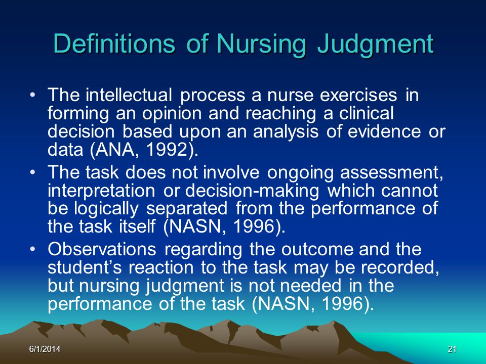 Definitions of Nursing Judgment