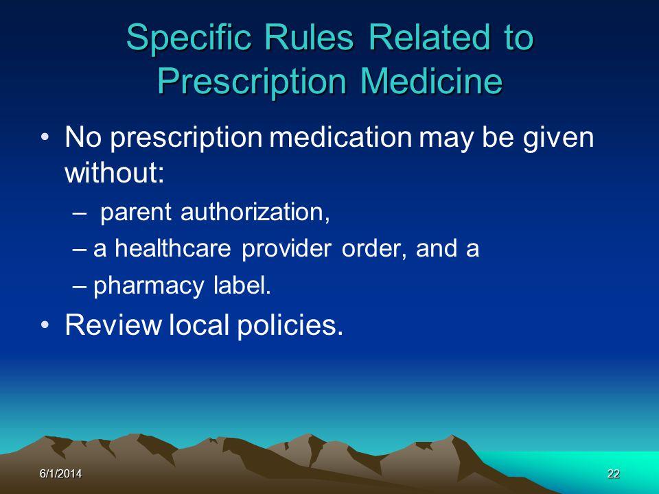 Specific Rules Related to Prescription Medicine