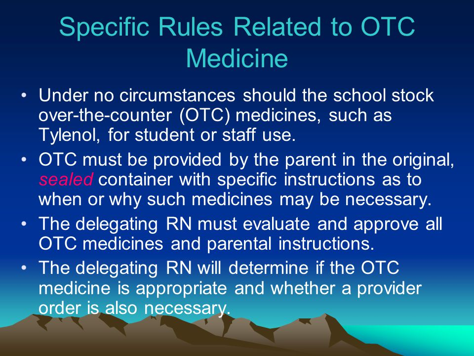Specific Rules Related to OTC Medicine