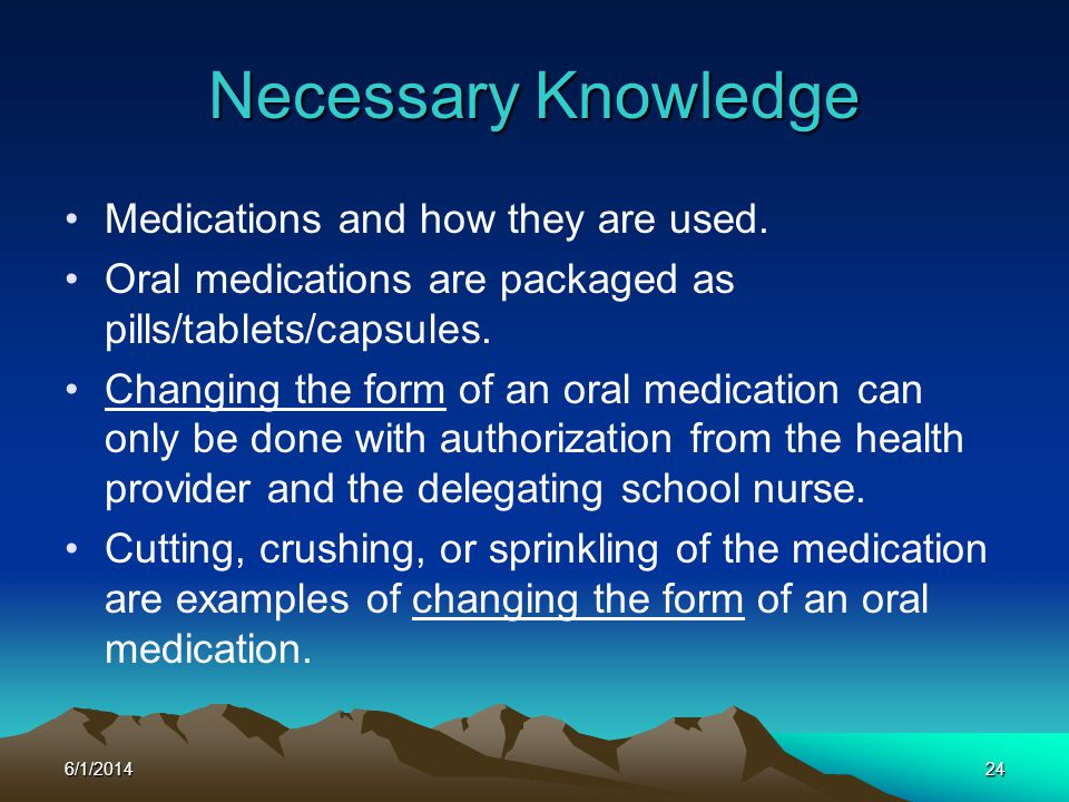 Necessary Knowledge Medications and how they are used.