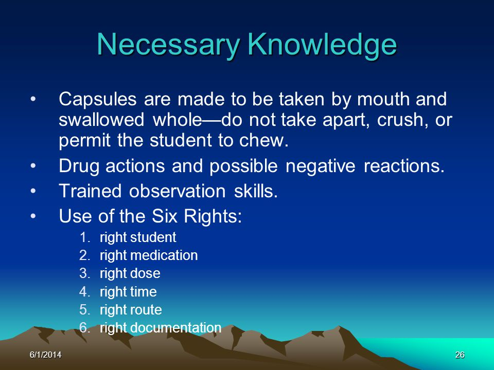 Necessary Knowledge Capsules are made to be taken by mouth and swallowed whole—do not take apart, crush, or permit the student to chew.