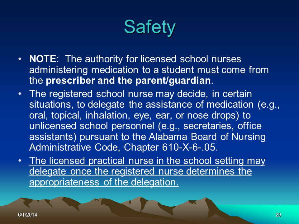 Safety NOTE: The authority for licensed school nurses administering medication to a student must come from the prescriber and the parent/guardian.