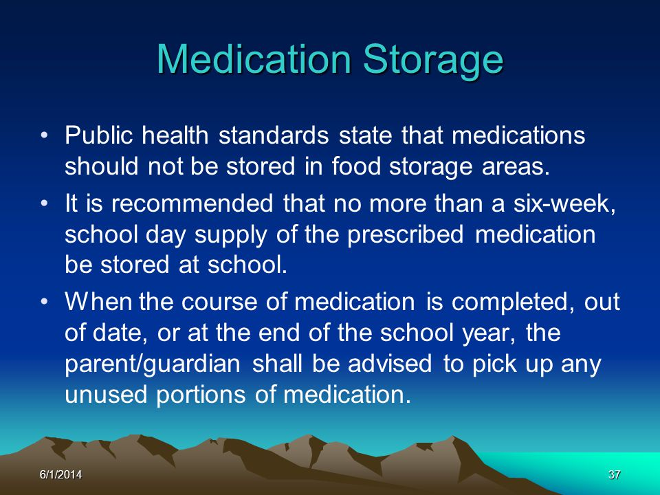 Medication Storage Public health standards state that medications should not be stored in food storage areas.