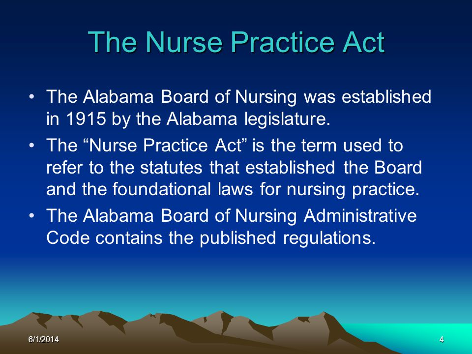 3/31/2017 The Nurse Practice Act. The Alabama Board of Nursing was established in 1915 by the Alabama legislature.