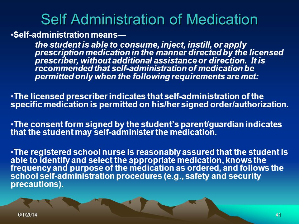 Self Administration of Medication