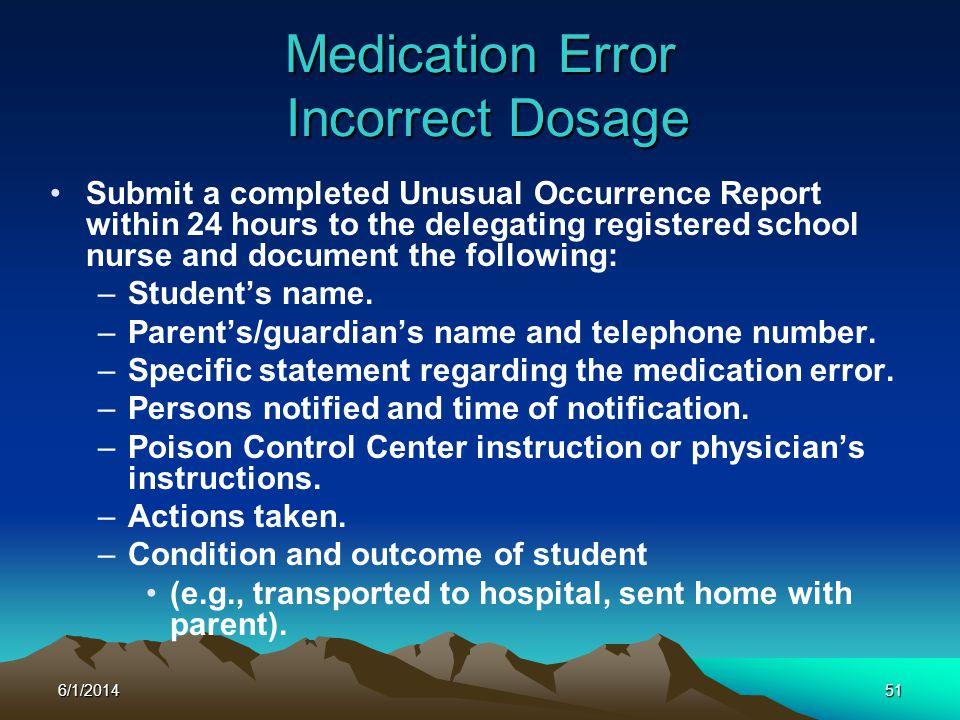 Medication Error Incorrect Dosage