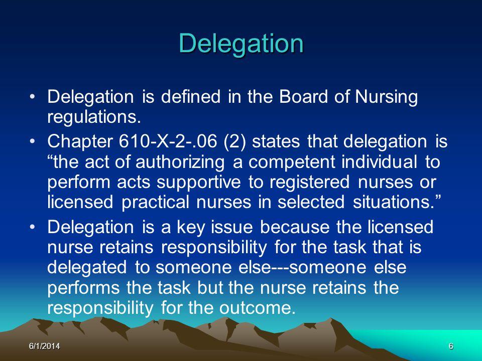 Delegation Delegation is defined in the Board of Nursing regulations.