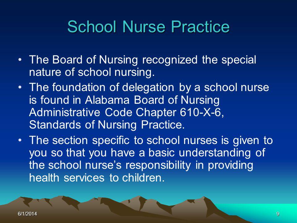 3/31/2017 School Nurse Practice. The Board of Nursing recognized the special nature of school nursing.