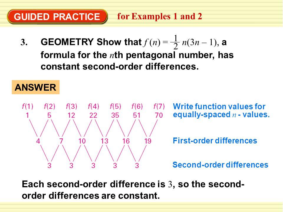 3. GEOMETRY Show that f (n) = n(3n – 1), a 1 2