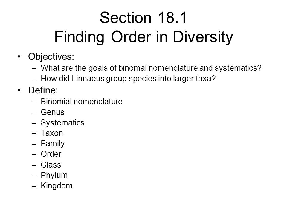 Section 18.1 Finding Order in Diversity