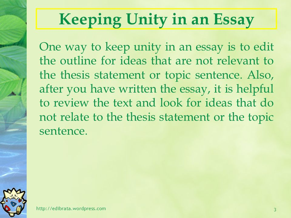 Keeping Unity in an Essay