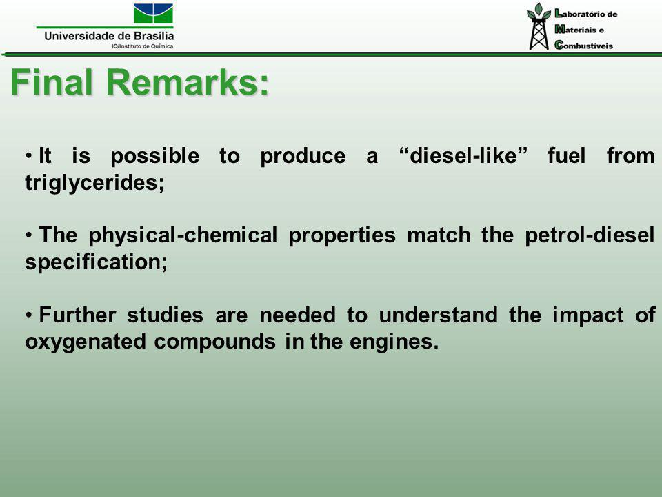 Final Remarks: It is possible to produce a diesel-like fuel from triglycerides;