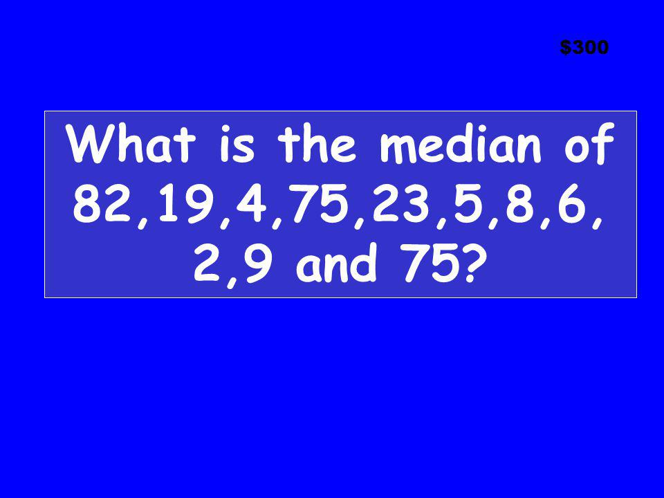 What is the median of 82,19,4,75,23,5,8,6, 2,9 and 75