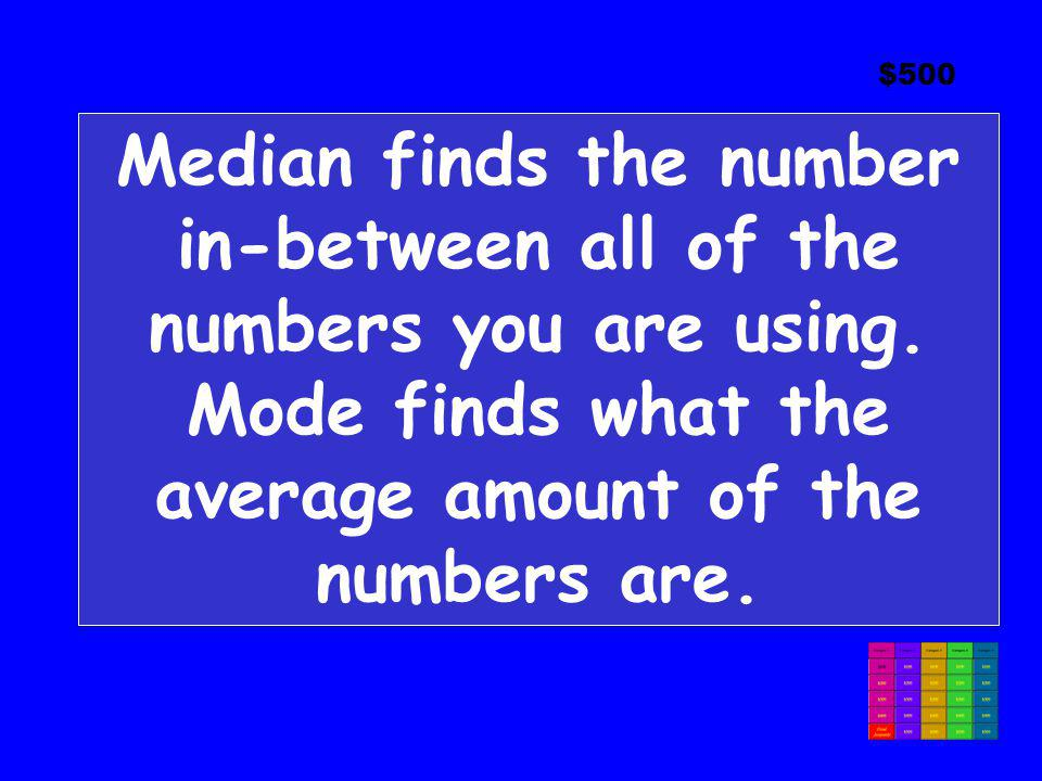 $500 Median finds the number in-between all of the numbers you are using.