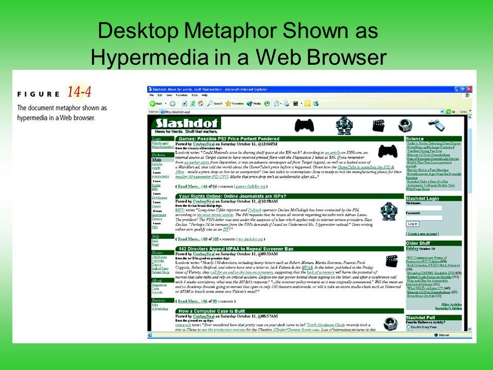 Desktop Metaphor Shown as Hypermedia in a Web Browser