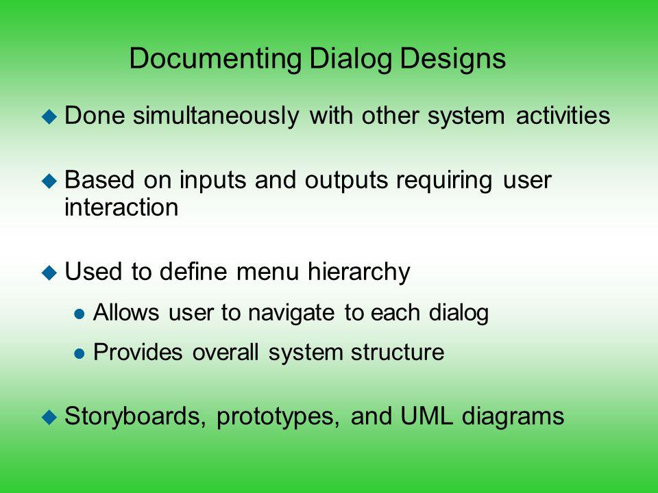 Documenting Dialog Designs