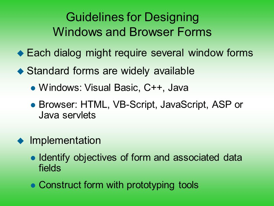Guidelines for Designing Windows and Browser Forms