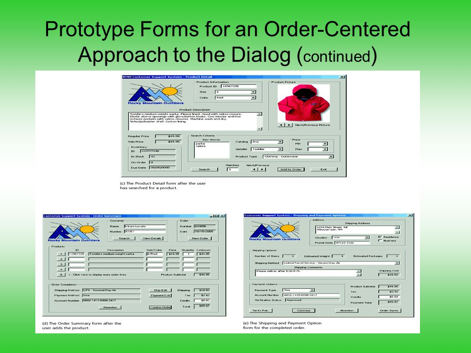 Prototype Forms for an Order-Centered Approach to the Dialog (continued)