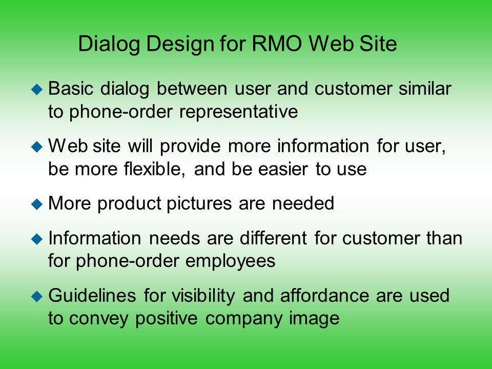 Dialog Design for RMO Web Site