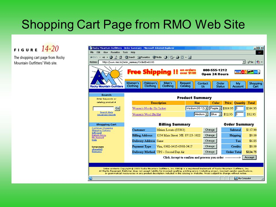 Shopping Cart Page from RMO Web Site