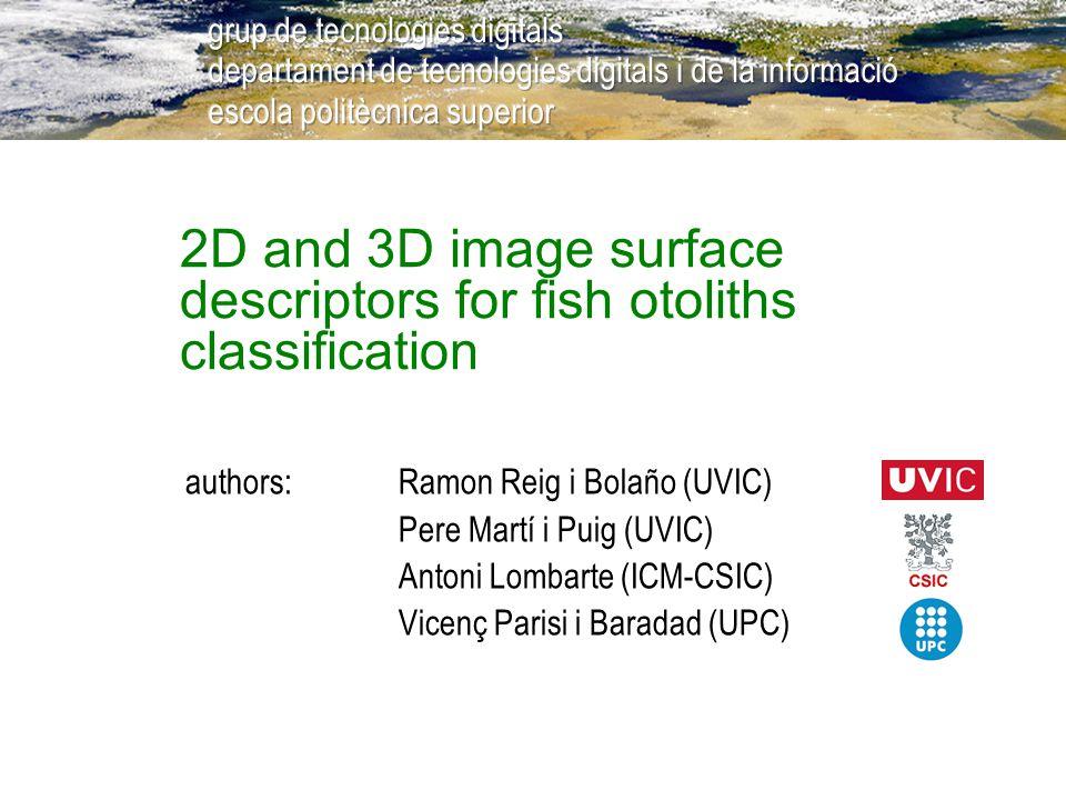 2D and 3D image surface descriptors for fish otoliths classification