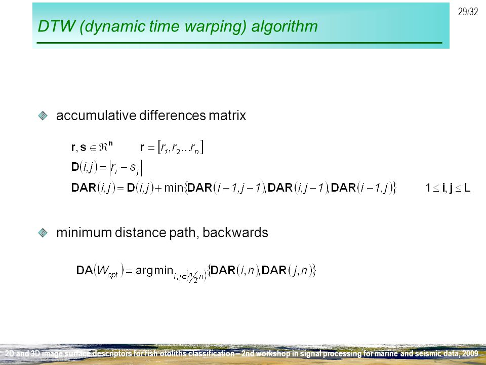 DTW (dynamic time warping) algorithm