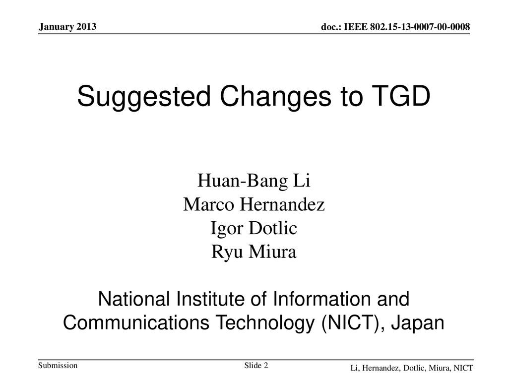 Suggested Changes to TGD