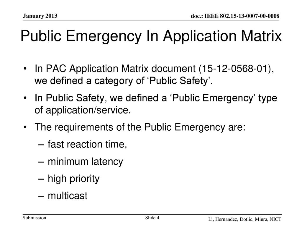 Public Emergency In Application Matrix