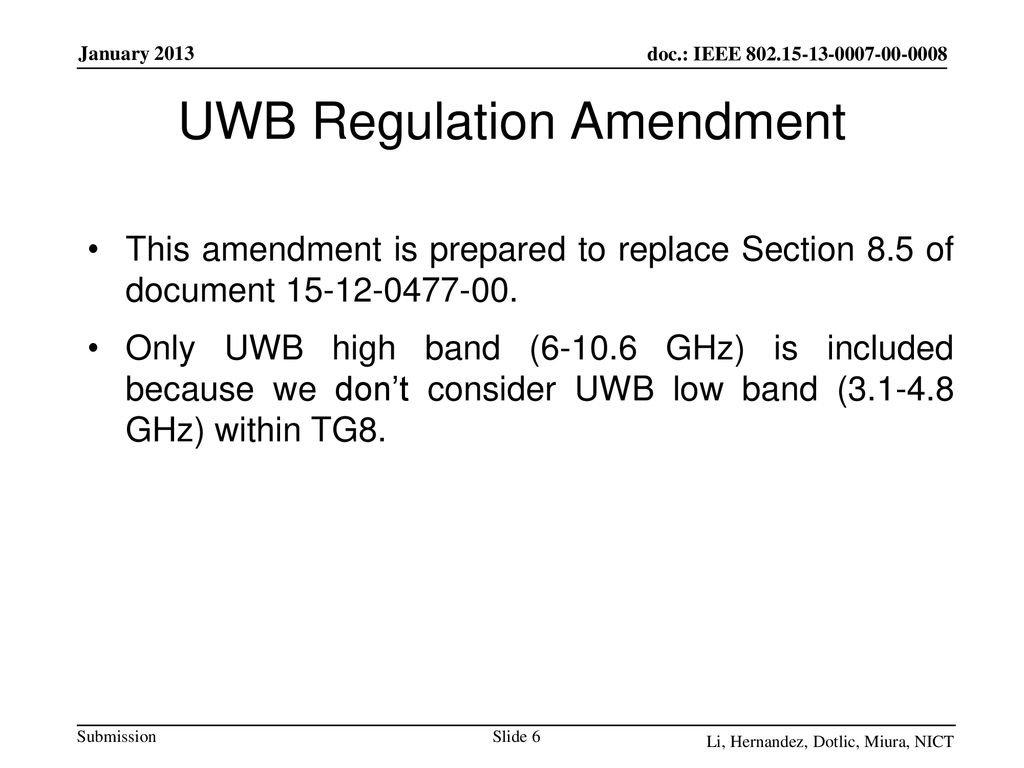 UWB Regulation Amendment