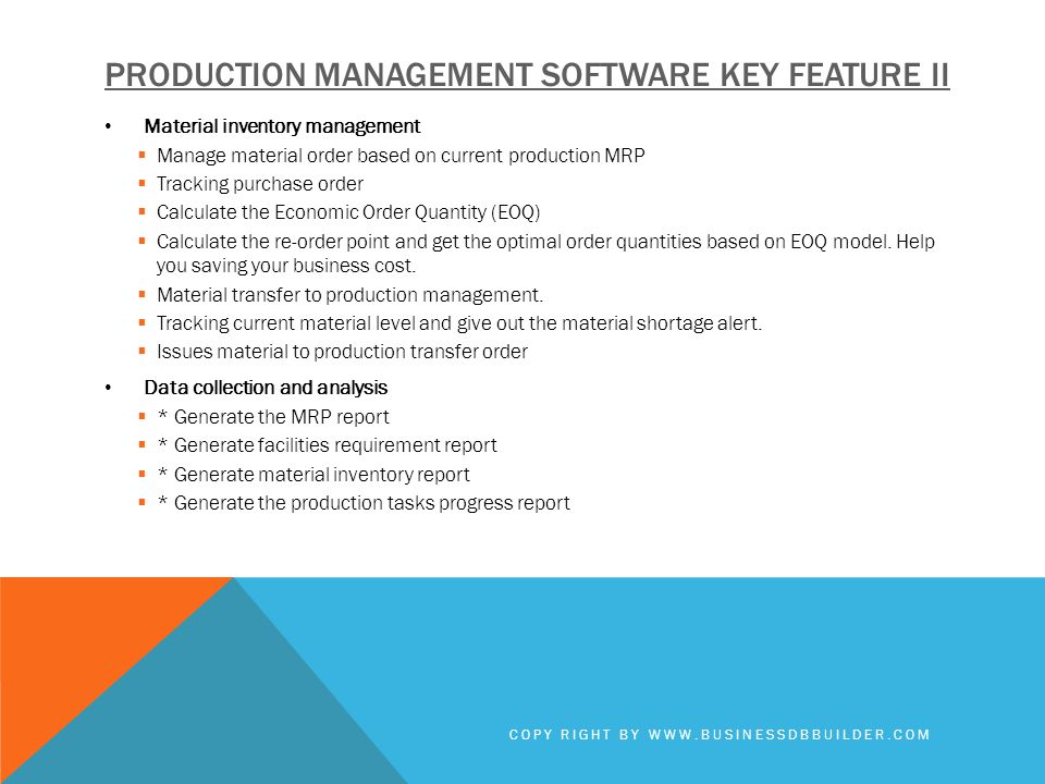 Production management software key feature II