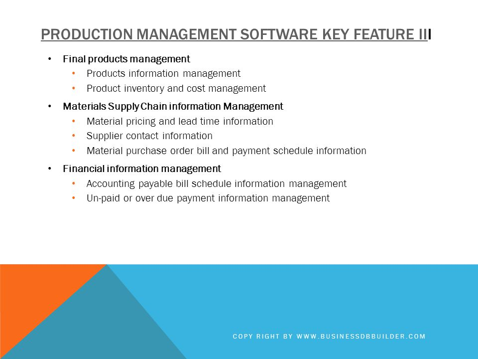 Production management software key feature III