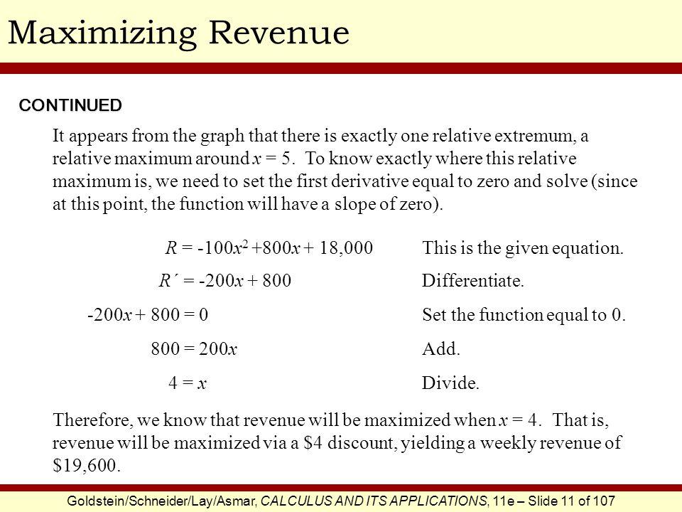 Maximizing Revenue CONTINUED.