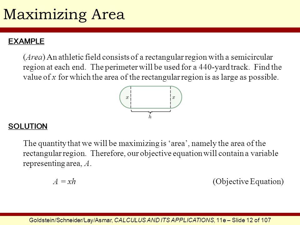 Maximizing Area EXAMPLE.