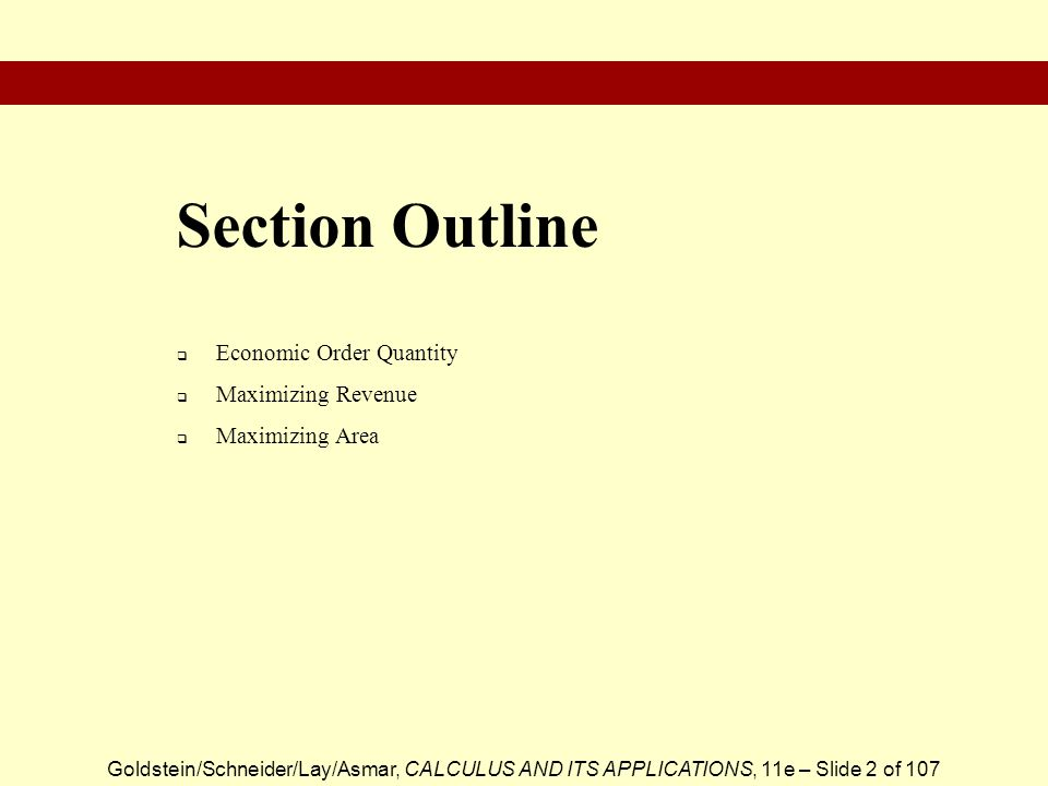 Section Outline Economic Order Quantity Maximizing Revenue