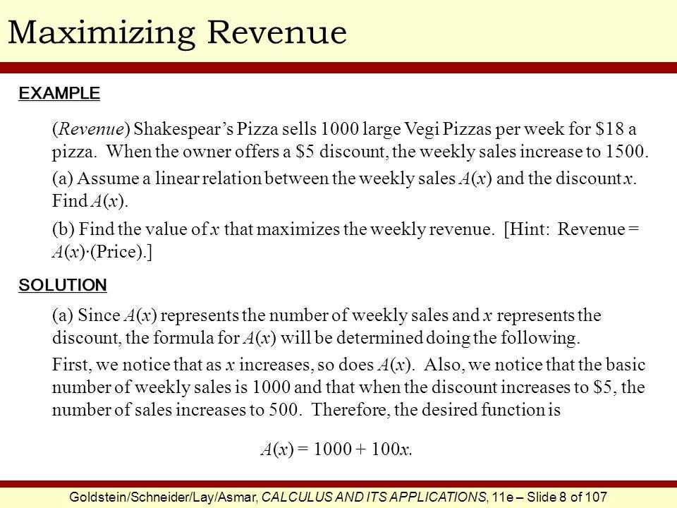 Maximizing Revenue EXAMPLE.