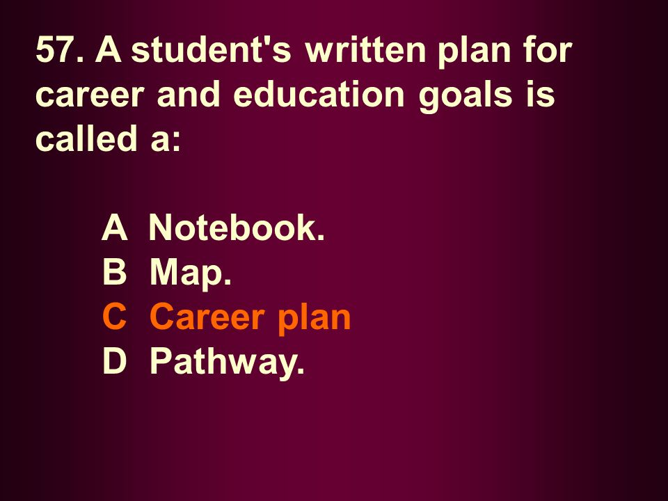 57. A student s written plan for career and education goals is called a: