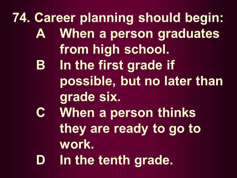 74. Career planning should begin: