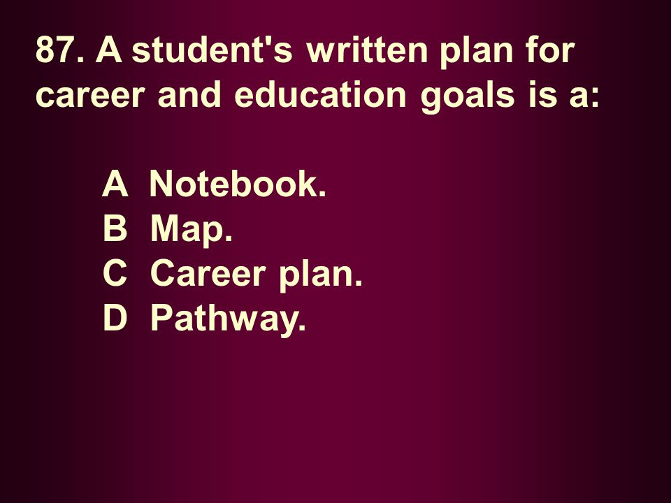 87. A student s written plan for career and education goals is a: