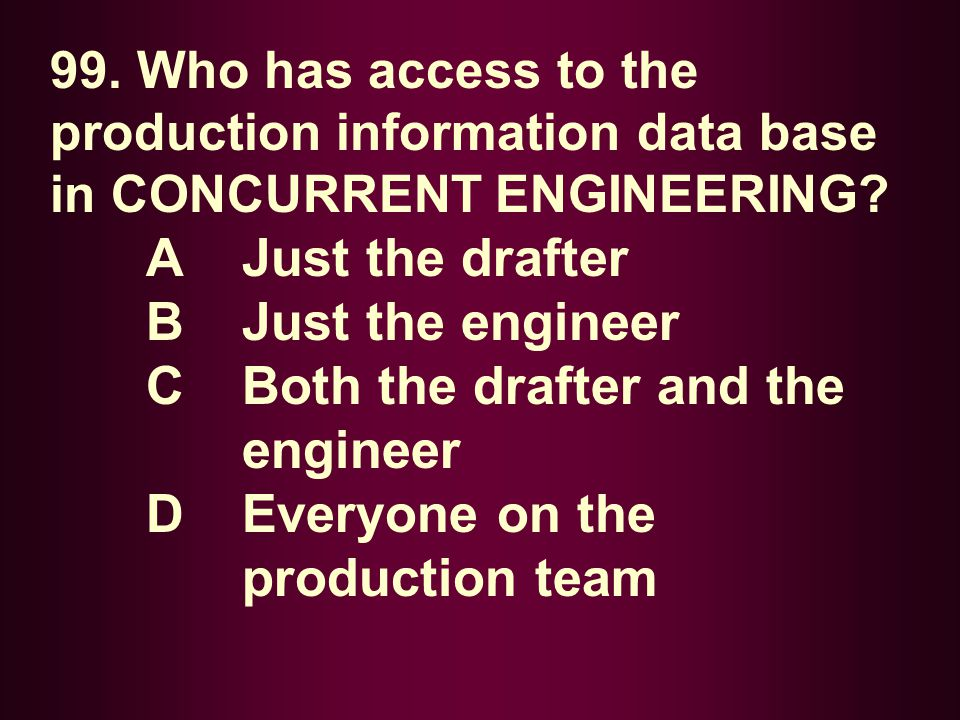 C Both the drafter and the engineer D Everyone on the production team