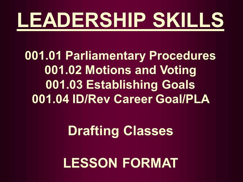 001.01 Parliamentary Procedures 001.04 ID/Rev Career Goal/PLA