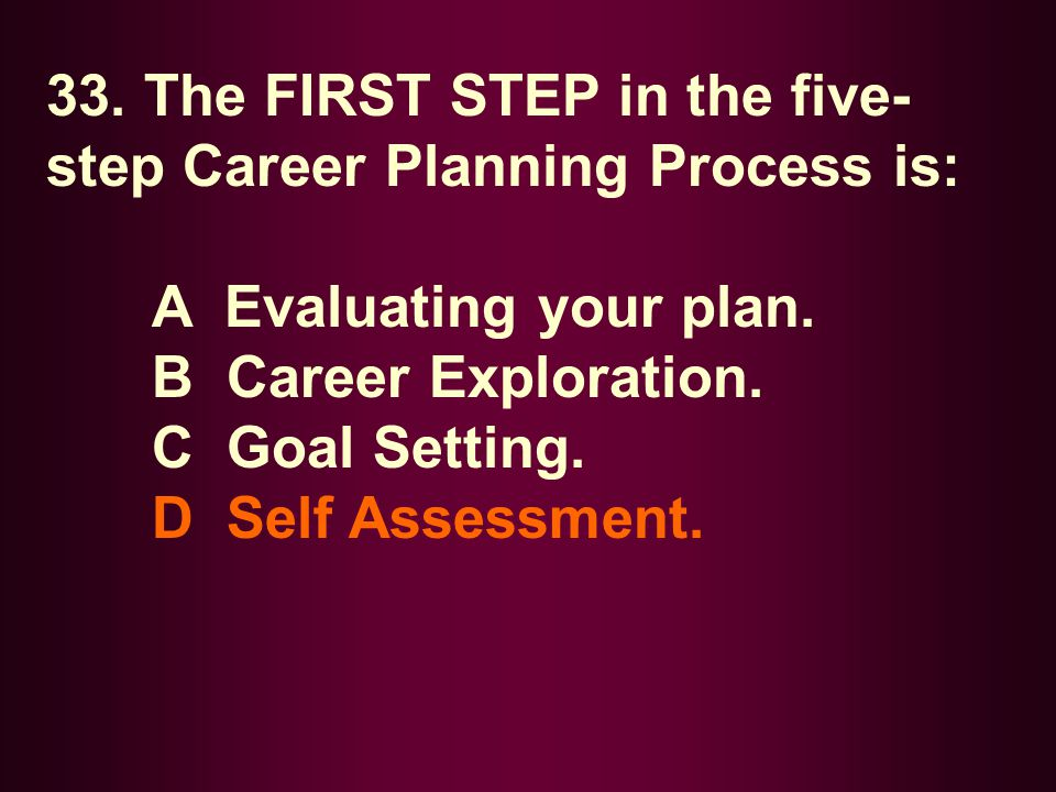 33. The FIRST STEP in the five-step Career Planning Process is: