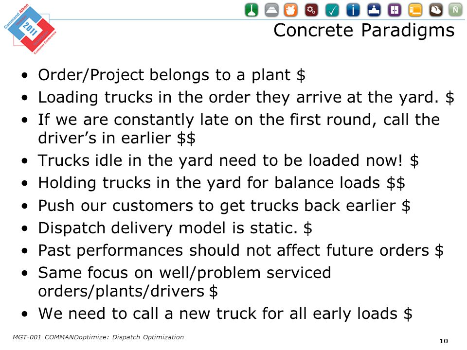 Concrete Paradigms Order/Project belongs to a plant $